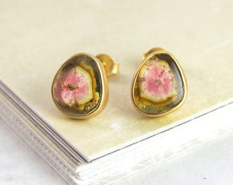 Gift for Women, October Birthday, October Birthstone, Watermelon Tourmaline Earring, Jewellery Handmade, Earrings Gold, Unique Stud Earrings