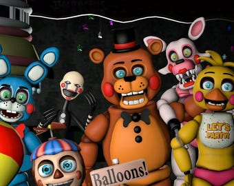 Five nights at Freddy's FNaF Edible Party Cake Image Topper Frosting Icing Sheet