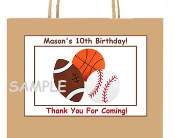 18 Personalized sporTs party stickers,birthday,favors,baseball,football,basketball,tags,thank you stickers,bag box labels,supply,Custom Made