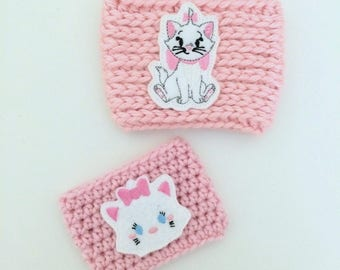 Marie Cat I'm a Lady Character Tsum Tsum Pink Coffee Sleeve Drink Crochet Cozies Cozy