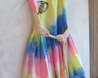 Tie Dye Girls Dress, Size 4 to 6, Gypsy Girls Dress, Jamaica Beachwear, Street Wear, by mailordervintage on etsy
