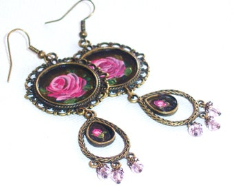Romantic Painted Rose Earrings Vintage Style Victorian Jewelry FREE SHIPPING