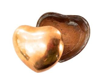 Vintage Brass Heart Shaped Box - Brass Heart Box With Lid - Love Brass Box - Gold Heart Shaped Box - Brass Jewelry Box - Gold Jewelry Box