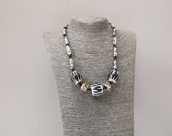 Ethnic, African Tribal Beads, Cow Bone Necklace,Bone necklace, Batik necklace, Horn, handmade necklace, black and white necklace, gift,