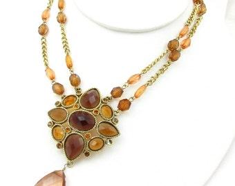 Gold Tone Amber Necklace Brown Peach Adjustable Dangle Pendant Medallion Multi Strand Vintage Designer Costume Jewelry Statement