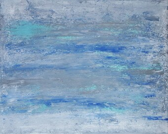 Abstract painting blue white gray