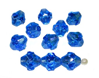 6pcs Czech Fire-Polished Faceted Glass  Lanterns Baroque Bicone Beads 11x10 mm, Blue Transparent AB (11FPL003)