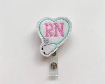 Nurses id tag, Nurses Week, Cute id Holder, Nurse Badge Reel, Nursing Student Gift, Registered Nurse, RN gift, Nurse Gift, Key Badge Holder