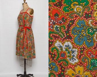 vintage 1950s sundress | 50s abstract floral print dress | orange summer dress