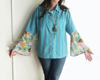 Womens Striped shirt, aqua blue, size large, Boho top, country chic, bell sleeves, button down, Chico's, hippie, Upcycled  clothes, floral