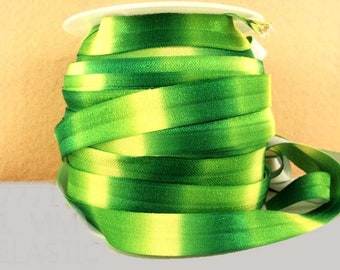 """Green and Yellow Blended Dyed FOE Ribbon  5/8"""" Hair Bow , Accessories az405"""