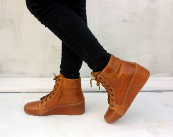 Brown leather wedges US 8.5 women shoes handmade Rangkayo sneaker boots ankle boots