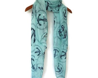 Blue Scarf / Spring Summer scarf / Women Scarves / Infinity Scarves / Mothers Day Gift / Mom Gift / Fashion Accessories / Gifts For Her