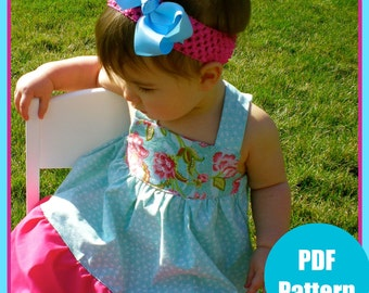 "Girls Dress Pattern, Baby Dress Pattern, Sewing Patterns, PDF Sewing Pattern, Easy Sewing PDF Pattern 6m-12  ""Madison Dress"""