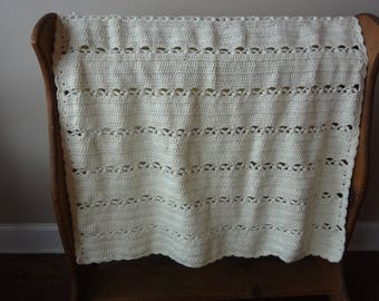 Off White Neutral Color Baby Afghan - Ready to be Shipped