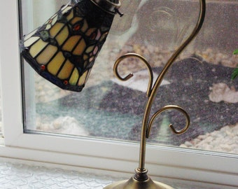 Vintage Goose Neck Metal Desk Lamp, Table Lamp w On/Off Switch, on Cord with Tiffany Style Shade marked Spectrum, Office Table Lamp, 1970's