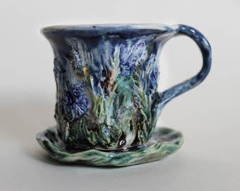 Ceramic espresso cup and saucer, blue and green hand built espresso cup