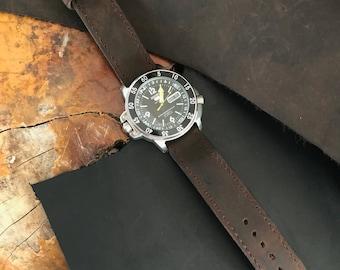 Handcrafted Dark Brown Crazy Horse Leather Watch Strap