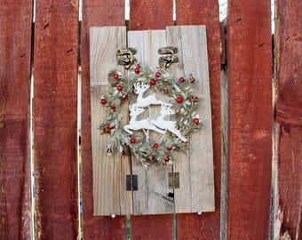Rustic, Wall Decor, Farmhouse, Christmas, Winter, Deer, Reindeer, Glitter, Wood, Christmas Wreath, Fireplace Decor, Jumping Reindeer Wreath