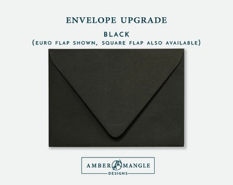 ENVELOPE UPGRADE Black Envelopes Add-On for Amber Mangle Designs Print Order Invitations A7 Note Cards A2 Stationery A6