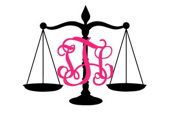 pattern justice scales monogram decal law monogram decal rh etsy com Lady Justice Clip Art Scales of Justice with Gavel