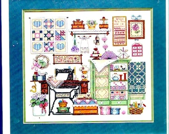 Cozy sewing room Sunset 13043 Kit embroidery Needlepoint Vintage 90s Unopened Barbara Waters Dimensions DIY
