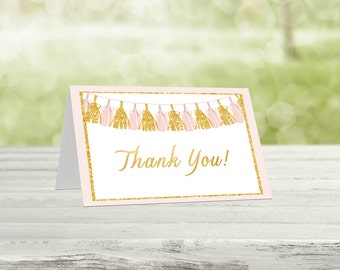 Pink & Gold Thank you cards, Printable thank you, Baby shower thanks, Printable thanks, Printable card, Thanks card, Tas-1