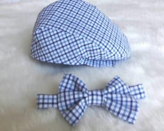 Newsboy Hat - Photo Prop - Gatsby Hat - Newsboy Cap - Cap and Bow Tie Set - Boys Cap - Boy Bow Tie - Wedding Set - Ring Bearer - Summer Blue
