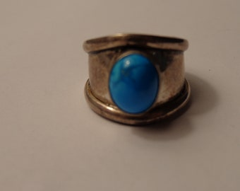 Sterling Silver and Turquoise Wide Band Ring - size 7