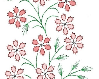 Flower Blossoms Floral Embroidery Pattern for Greeting Cards