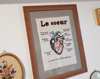 The heart, embroidery, anatomical Board