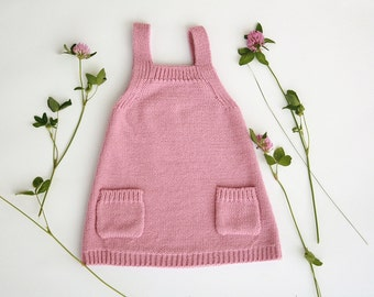 Baby knit dress in wool alpaca blend, available in many colors