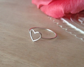 Sterling Silver Open Heart Ring, Small Ring, Simple,  Bridesmaid Gift, Love, Romantic, Gift for Her, Girlfriend, Valentine Jewelry