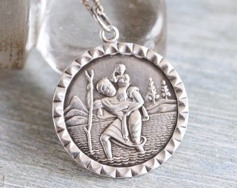 St Christopher Necklace - Sterling Silver Medallion on Chain - Travelers Protector - Religious Icon