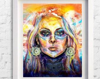 Psychedelic Goa  Psytrance Mandala Meditation Sunset Gypsy Wall art, Fractal print, Psytrance art, Om spiritual, Gift, Sci-fi art