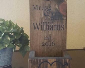 Personalized Wall Mount Bottle Opener - Cast Iron Anniversary Gift - Wood Bottle Opener