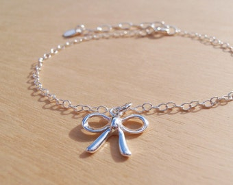 Silver Bow Bracelet - Dainty Sterling Silver Bow Charm