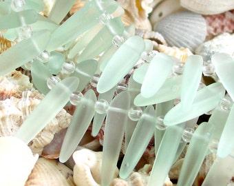 "7"" SEAFOAM aqua water blue dagger tusk spike sea beach velvet glass beads matte frosted recycled"