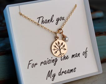 Mother of the groom necklace / Sterling Silver or Gold Filled Necklace with family tree and pearl / Wedding Gift