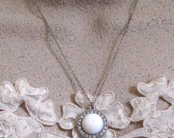 White Howlite Round Pendant Necklace ~ Halo Pendant Necklace ~ Round White Howlite Cabochon ~ Adjustable 18 - 22 inches