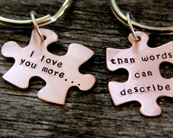 Valentine Gift For Husband / Puzzle Piece / His One Her Only / Anniversary Gift / Hand Stamped Personalized / Valentines Gift Wife/ Wedding