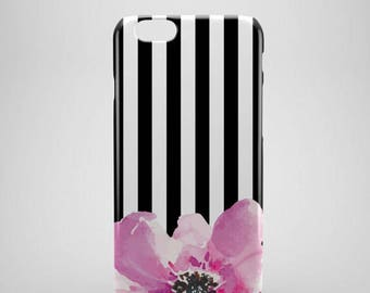 Floral Stripe iPhone 8 Case,  iphone 8 plus case, iPhone 8 covers, monochrome phone case, hipster iPhone 8 case, iPhone x case, leaves