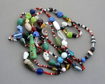 Vintage 1970 jewelry very long necklace 24 inch beaded necklace colorful necklace double stranded over the head no clasp necklace unusual