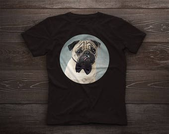 Pug t-shirt, Pug tshirt tee, pet tshirt, dog tee, carlin, gift, chinese pug, dutch bulldog, dutch mastiff, mini mastiff, mops