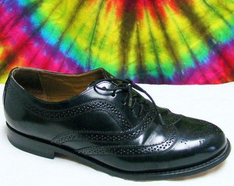9 D mens vintage black leather TOWN CRAFT wing-tip oxfords shoes