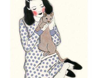 """Cat art -   My Little Lion  4"""" X 6"""" print - 4 for 3 SALE"""