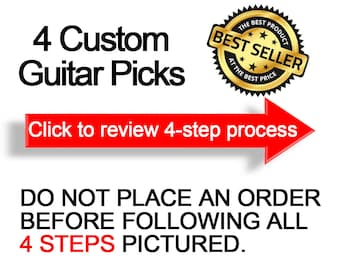 4 Custom Guitar Picks, Custom Guitar Pick, Custom Guitar Picks, Personalized Guitar Pick