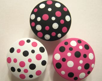Set of 3 Hot Pink, Black and White  - Polka Dots - Hand Painted Knobs