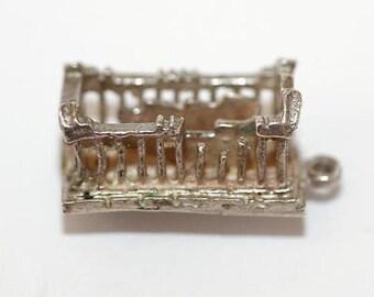 Vintage Parthenon Ruins Athens Greece 800 Silver Bracelet Charm (5.2g)