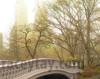 Central Park Photography, Bow Bridge, Spring in Central Park, Large Wall Art, Green, Beige